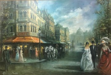 Carriage Trade 37x50 Super Huge Original Painting - Americo Makk