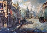 Untitled (Paris Scene) 33x57 Super Huge Original Painting by Americo Makk - 0