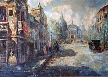 Untitled (Paris Scene) 33x57 Original Painting by Americo Makk