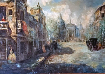 Untitled (Paris Scene) 33x57 Huge Original Painting - Americo Makk