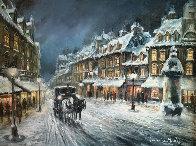 Muffled in Snow 1980 39x49 Super Huge Original Painting by Americo Makk - 0