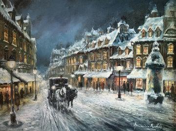 Muffled in Snow 1980 39x49 Huge Original Painting - Americo Makk