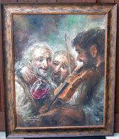 Wine and Music 1974 33x27 Original Painting by Americo Makk - 1