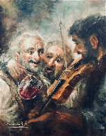 Wine and Music 1974 33x27 Original Painting by Americo Makk - 0