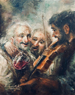 Wine and Music 1974 33x27 Original Painting - Americo Makk