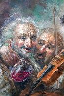 Wine and Music 1974 33x27 Original Painting by Americo Makk - 2