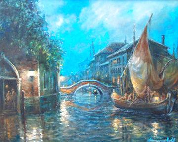 Venetian Waters 26x32 Original Painting - Americo Makk