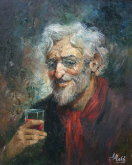 Untitled Portrait of Old Man with Glass 24x20 Original Painting by Americo Makk