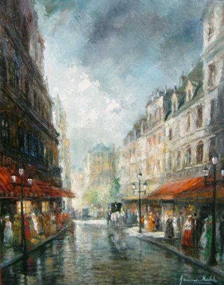 Wind Blown Colors 1980 30x24 Original Painting by Americo Makk