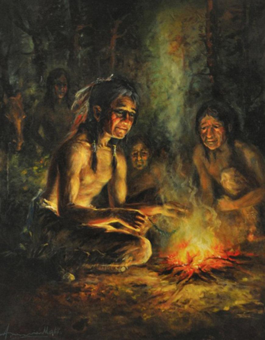 Reader 1980 38x32 Original Painting by Americo Makk