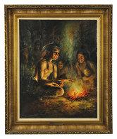 Reader 1980 38x32 Original Painting by Americo Makk - 1