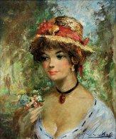 Straw Hat 30x26 Original Painting by Americo Makk - 0