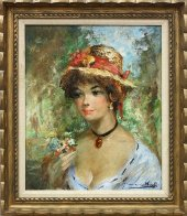 Straw Hat 30x26 Original Painting by Americo Makk - 1