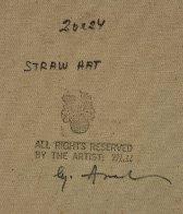 Straw Hat 30x26 Original Painting by Americo Makk - 3