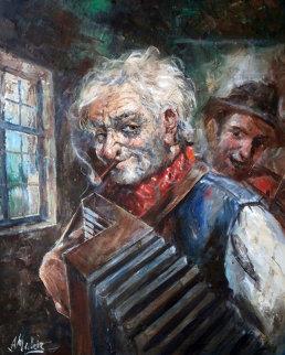 Musician 33x27 Original Painting by Americo Makk
