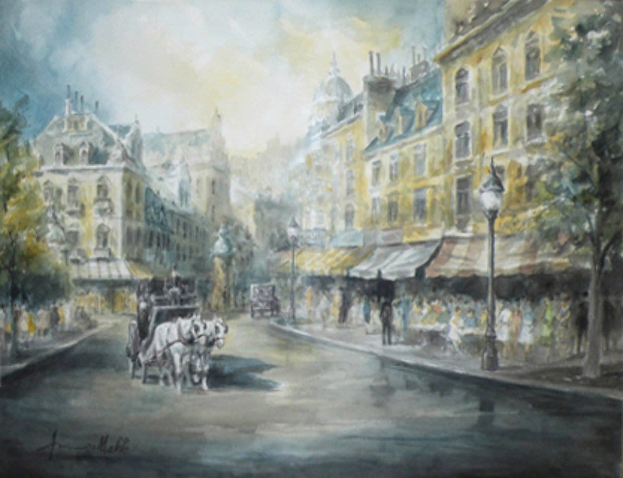 Parisian Cafe 37x44 Super Huge Watercolor by Americo Makk