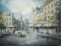 Parisian Cafe 37x44 Super Huge Watercolor by Americo Makk - 0