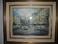 Parisian Cafe 37x44 Super Huge Watercolor by Americo Makk - 1