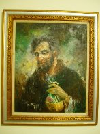 Old Man With Wine Jug 1968 38x32 Original Painting by Americo Makk - 1