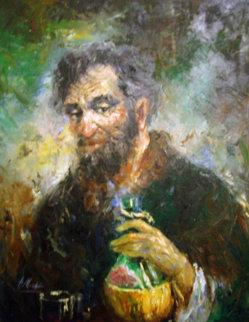 Old Man With Wine Jug 1968 38x32 Original Painting by Americo Makk