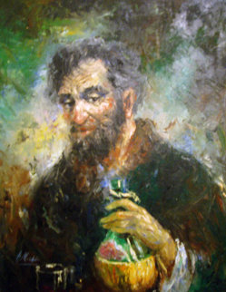 Old Man With Wine Jug 1968 38x32 Original Painting - Americo Makk
