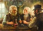 Three Men 25x29 Original Painting - Americo Makk