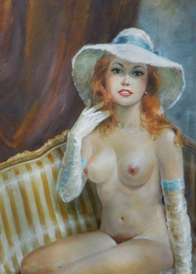 Satin Boudoir 32x56 Original Painting by Americo Makk