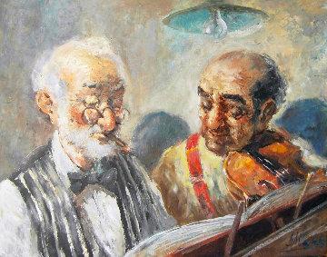 Two Elderly Musicians 38x32 Original Painting by Americo Makk