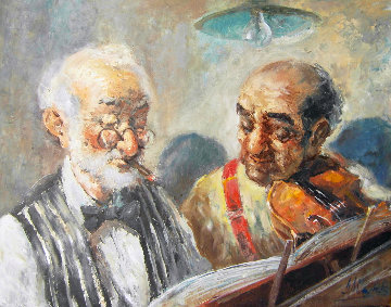 Two Elderly Musicians 38x32 Original Painting - Americo Makk