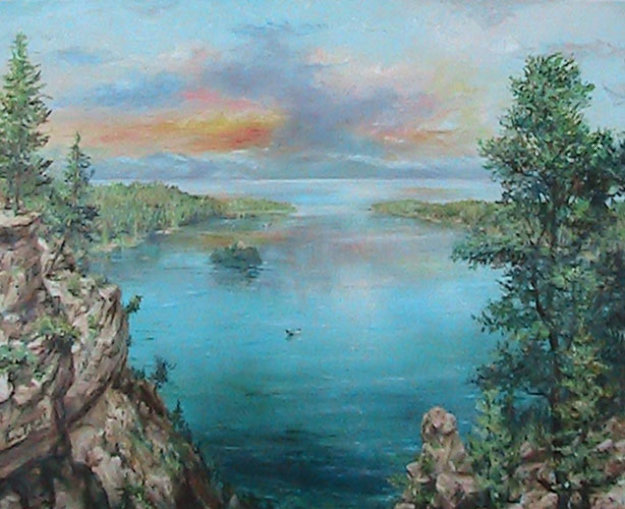 Emerald Bay 24x30 Lake Tahoe Ca 24x30 Original Painting by Eva Makk