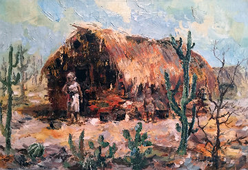 Casa De Pao E Pique (Sertao) 1960 18x26 Original Painting - Eva Makk