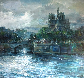 Notre Dame 1994 42x46 Super Huge Original Painting - Eva Makk