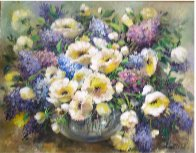 Lilacs and Poppies 1986 34x28 Original Painting by Eva Makk - 1