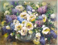 Lilacs and Poppies 1986 34x28 Original Painting by Eva Makk - 0