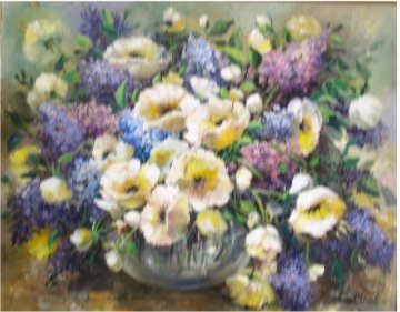 Lilacs and Poppies 1986 34x28 Original Painting by Eva Makk