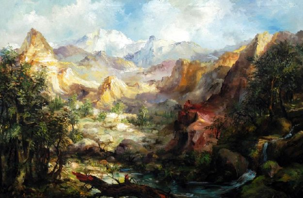 Mountain Landscape 34x46 Original Painting by Eva Makk
