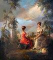Girls in Garden 37x33 Original Painting - Eva Makk