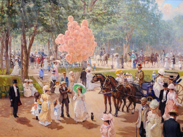 Balloon Seller 1995 50x60 Original Painting - Alan Maley