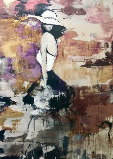 White Skirt 2006 78x56 Super Huge Original Painting - Daniel Maltzman