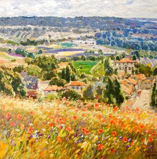 Poppies in Provence 40x40 Original Painting - Omar Malva