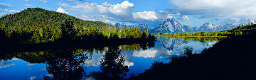 Summer on Oxbow Bend (Grand Teton Park) Panorama - Thomas Mangelsen