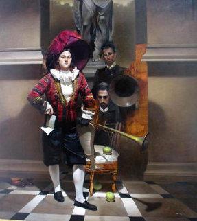 Visitors 1996 77x88  Huge Original Painting - Roger Mantegani