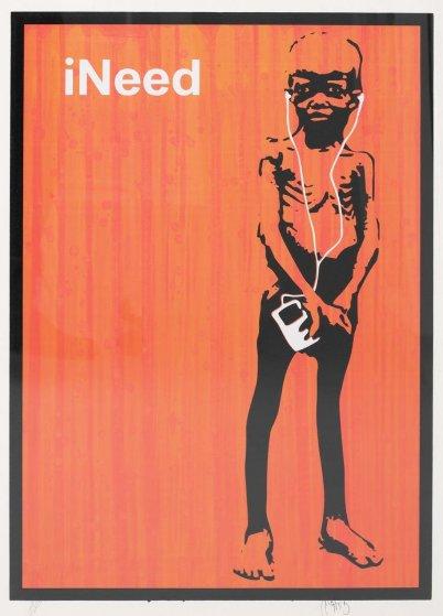 Ineed (Orange) Unique Screenprint 2006 AP Limited Edition Print by  Mantis