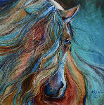 Mesmerize, the Gypsy Vanner 2015 18x18 Original Painting - Marcia Baldwin