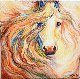 Friendship Equine Abstract 2015 20x20 Original Painting - Marcia Baldwin