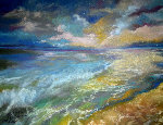 Ocean And The Setting Sun 2015 11x14 Original Painting - Marcia Baldwin