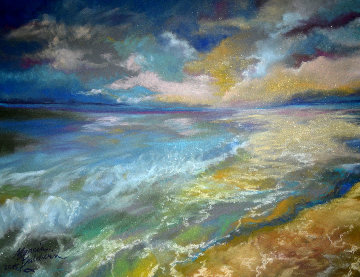 Ocean And The Setting Sun 2015 11x14 Original Painting by Marcia Baldwin