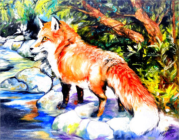 Red Fox 3 2005 16x20 Original Painting - Marcia Baldwin