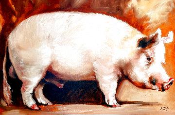 Big Pig 2006 24x36 Original Painting - Marcia Baldwin