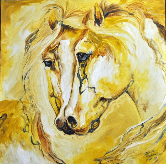Equine Friends of Gold 2009 24x24 Original Painting by Marcia Baldwin